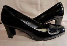 CROFT & BARROW BLACK PATENT LEATHER PUMPS - Square Toes, Silver Buckles MARISA 9
