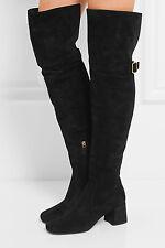 $1800  PRADA Black Suede Over-the-Knee Boots  Mid Heel Buckle Booties 38.5