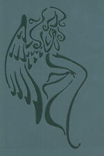 WINGED ANGEL RE USEABLE MYLAR STENCIL -  APPROX A5 - IMAGE APPROX 18.5 x 11cm