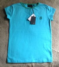 NWT Fendi Kids Girl Stretchy Blue Zucca Embroidery T-Shirt (Size 6)