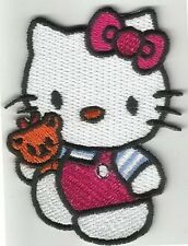 Iron On/ Sew On Embroidered Patch Badge Hello Cat Teddy Emblem Logo