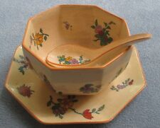 Wedgwood Chinese Sprigs Condiment Set, Plate Bowl and Spoon