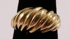Lovely 14k Yellow Gold Estate Wavy, Spiral or Rolling Design Dome Ring Sz 6