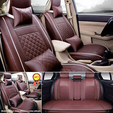 HOT PU Leather Coffee Seat Cover Auto Car 5-Seats Sedan SUV Front+Rear Durable