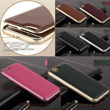 Deluxe Genuine Leather Back Metal/Aluminum Frame Case For iPhone 6  White
