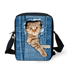 Denim Print Cat Messenger Bags Women Mini Shoulder Handbag Tote Cross Body Purse