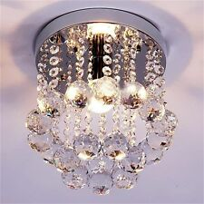 Crystal Droplets Silver Chrome Ceiling Pendant Light Chandelier Fitting Lamp SM