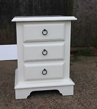 Painted 3 drawer bedside cabinet with cut out plinth