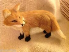 Red  Fox  with black paws Animal Figurine - recycled rabbit fur
