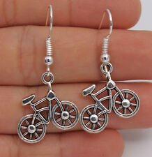 925 Silver Plated Hook - 1.6'' Bikecycle Retro Silver Women Party Earrings #06