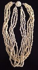 Vintage HONG KONG Yellow Plastic Lucite Bead 7 Strand Necklace Stunning