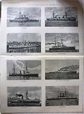 1897 Typical Warships At Spithead, Hms Australia, Inflexible, Royal Sovereign