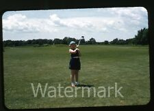 1950s red border Kodachrome photo slide Young Girl on golf course  club  golfing