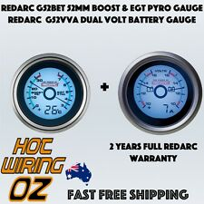 REDARC G52BET 52mm Boost & EGT Pyro Gauge PLUS G52VVA Dual Volt Battery Gauge