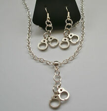 Handcuffs Necklace & Matching Earrings. Kinky, BDSM.