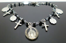 Sterling Silver religious Pilgrim Bracelet with black beads & enamel detail