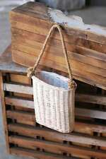 White Washed Hanging Willow Basket Door Decor-Wall Pocket
