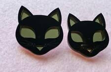 NEW Large Cat Acrylic Earrings Black & Gold For Pierced Ears Cat Animal Lover