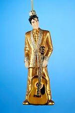 KURT S. ADLER ELVIS® IN GOLD SUIT FIGURE w/ GUITAR GLASS CHRISTMAS ORNAMENT