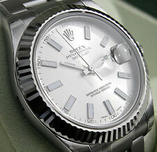 Rolex DATEJUST II 116334 Mens Steel & White Gold Silver Stick Dial Oyster 41MM