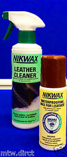 NIKWAX LEATHER CLEANER & NIKWAX BROWN LIQUID WAX FULL GRAIN LEATHER HIKING BOOTS