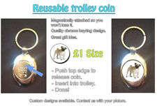 CUTE PET PUG DOG - REUSABLE £1 SHOPPING TROLLEY TOKEN - GREAT GIFT