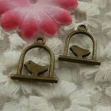 free ship 100 pieces bronze plated birdcage charms 17x15mm #4343