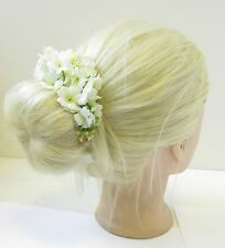 Ivory Cream Gypsophila Baby's Breath Bun Garland Flower Headband Hair Belt T96