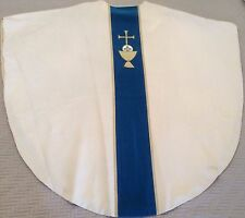 Catholic Anglican Episcopal Priest Bishop Set White Blue Marian Gothic Vestments