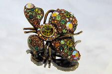 Joan Rivers LARGE Emerald Green Peridot BEE PIN Bug Brooch Crystal Rhinestones!