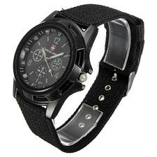 Swiss Flag Gemius ARMY FABRIC Sport Quartz  MILITARY Wrist Watch GLOW HANDS u