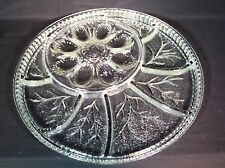 VTG INDIANA GLASS PEBBLE LEAF CLEAR GLASS DEVILED EGG RELISH TRAY SERVE PLATTER