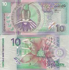 Suriname P147, 10 Gulden, mango bird, stag beetle / butterfly, scarlet flower