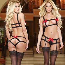 Women Sexy Lingerie Red Bow Dress Underwear Babydoll Sleepwear G-string US1ZO