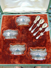 ANTIQUE FRENCH SET 4 SILVER MINERVA 950 VERMEIL SALT CELLARS & SPOONS  L COIGNET