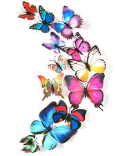 Colorful  12pcs 3D Butterfly Sticker Art Design Decals Wall Stickers Home Deco