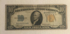 """1934 A $10 SILVER CERTIFICATE """"GOLD SEAL"""" NORTH AFRICA WWII ISSUE IN VG+ COND."""
