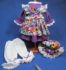 Handmade Four Piece Purple Pansy - Raggedy Ann Outfit – 18-20 Inches