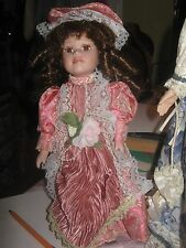 Handmade China & Cloth Edwardian Girl Doll with Stand