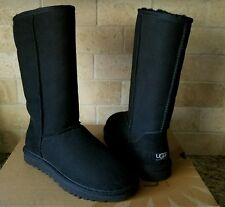 UGG Classic Tall Black Boots Suede Sheepskin 7 US Womens 5815 New!!