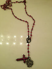 SWAROVSKI RED IRRIDESCENT CRYSTAL ROSARY BEAD NECKLACE STERLING DRAGON & CROSS