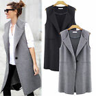 Women Single Button Long Lapel Waistcoat Duster Coat Jacket Suit Blazer Cardigan