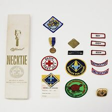 Lot Vtg Boy Cub Scout Patches Ribbons Pins Medals Neckerchief Tie Clip Box Only