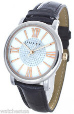 Anne Klein Women's Mother of Pearl Dial Black Leather Crystal Watch AK/1121