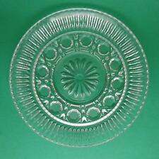 "Vintage Clear Pressed Glass Floral Pattern 6.5"" Dessert, Salad, Bread Plate EUC"