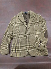 Polo RALPH LAUREN Brown Houndstooth Plaid Jacket Blazer Boy Size 4 Elbow Patches