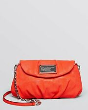 NWT $278 MARC Jacobs Embossed Leather Classic Q Karlie Crossbody Neon Red Orange