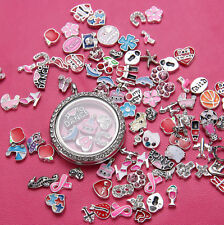 30mm Round Crystal Silver Floating Charm Memory Living Locket Necklace New gift