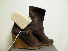 Women's ugg collection boots caprera wedge brown leather new made in Italy 7.5