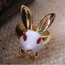 R72 Betsey Johnson Rush Hurry Peter Rabbit Clock Alice In Wonderland Ring  US